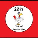 2017, Year of the Rooster - on red T-Shirt