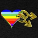 Rainbow Heart with Gold Metallic Male Symb T-Shirt