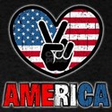 American Flag Peace Sign Heart T-Shirt