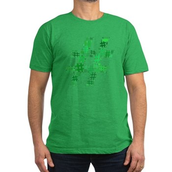 Green Hashtag Cloud Men's Dark Fitted T-Shirt