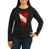 Scuba Flag Letter V Women's Long Sleeve Dark T-Shi