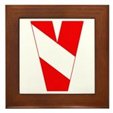 Scuba Flag Letter V Framed Tile