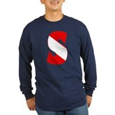 Scuba Flag Letter S Long Sleeve Dark T-Shirt