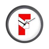 Scuba Flag Letter F Wall Clock