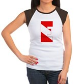 Scuba Flag Letter E Women's Cap Sleeve T-Shirt