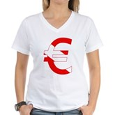 Scuba Flag Euro Sign Women's V-Neck T-Shirt