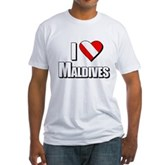 Scuba: I Love Maldives Fitted T-Shirt