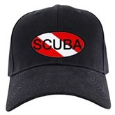 Scuba Oval Dive Flag Black Cap
