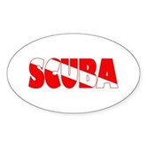Scuba Text Flag Oval Sticker